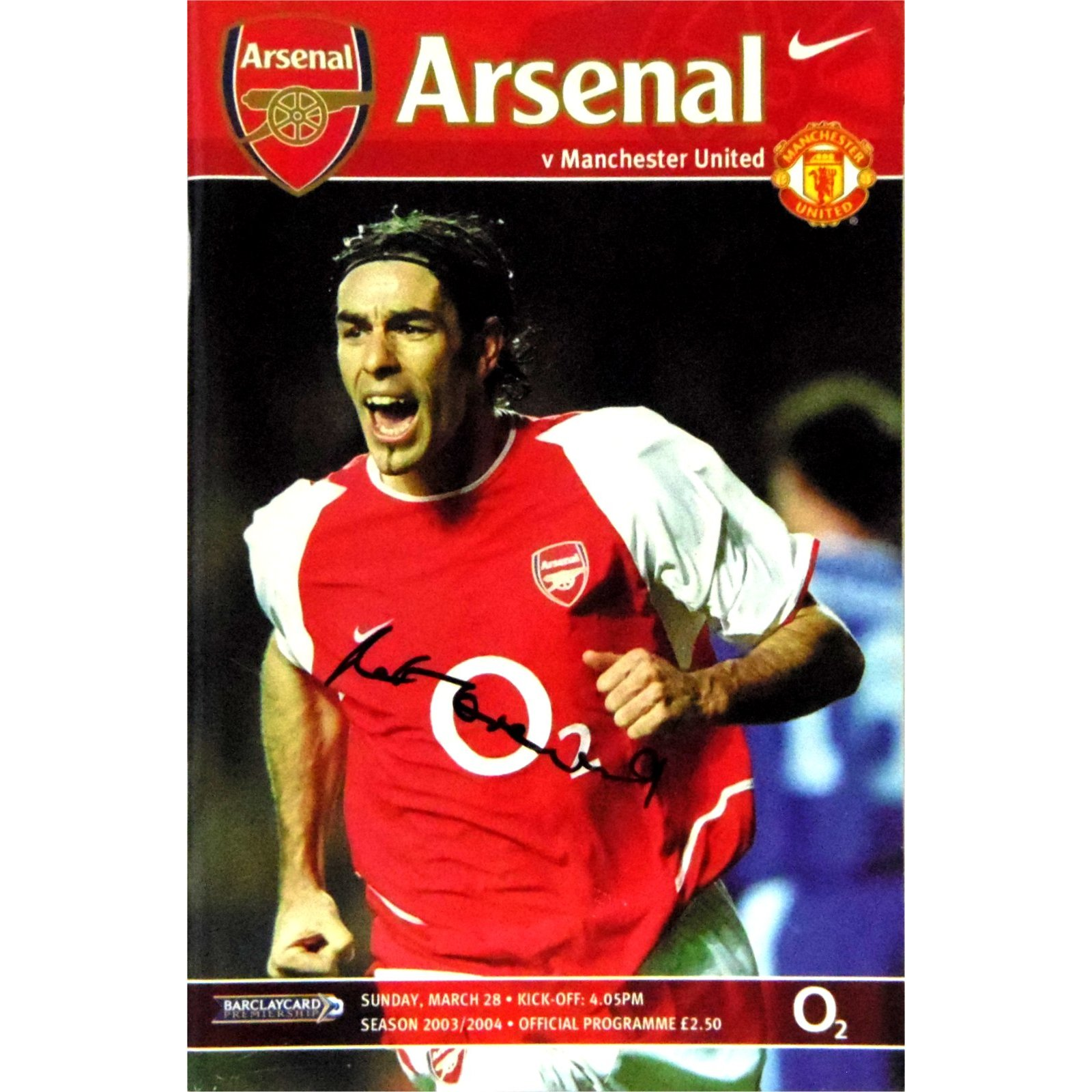 Arsenal<br>28/03/04<br>Autographed by<br>PAT CRERAND
